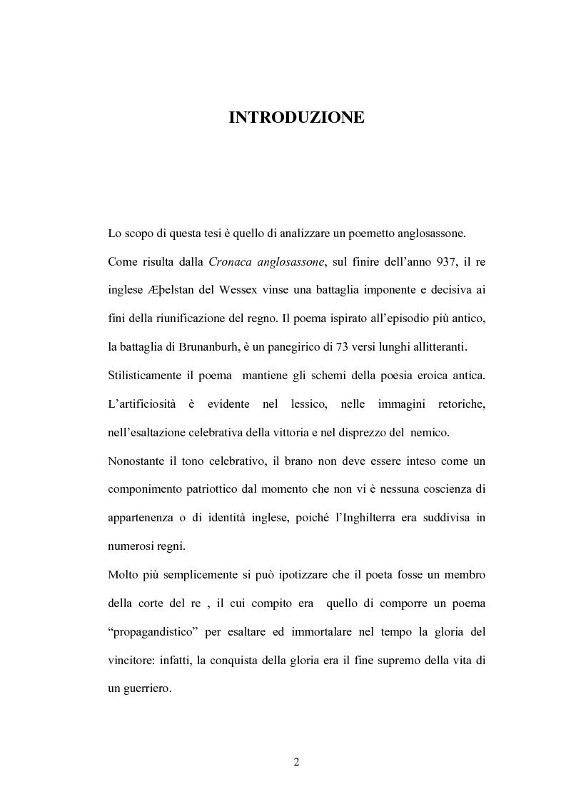 Anteprima della tesi: La battaglia di Brunanburh, Pagina 1