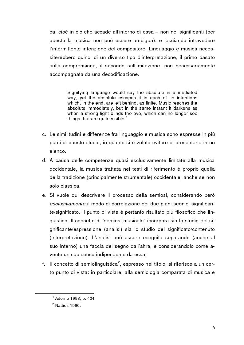Anteprima della tesi: La semiolinguistica della musica. Varie tendenze nell'interpretazione e analisi dell'evento musicale, Pagina 3