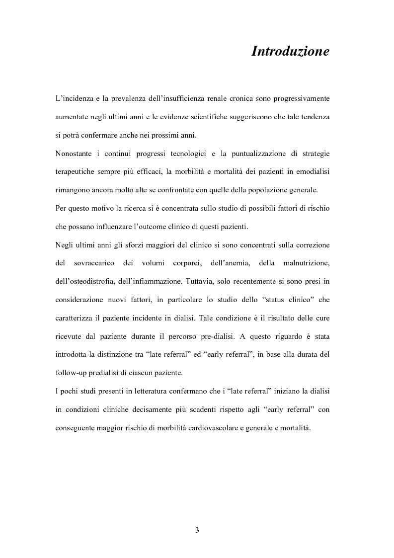 Anteprima della tesi: Il mantenimento della funzione renale residua influenza l'outcome dei pazienti in emodialisi?, Pagina 1