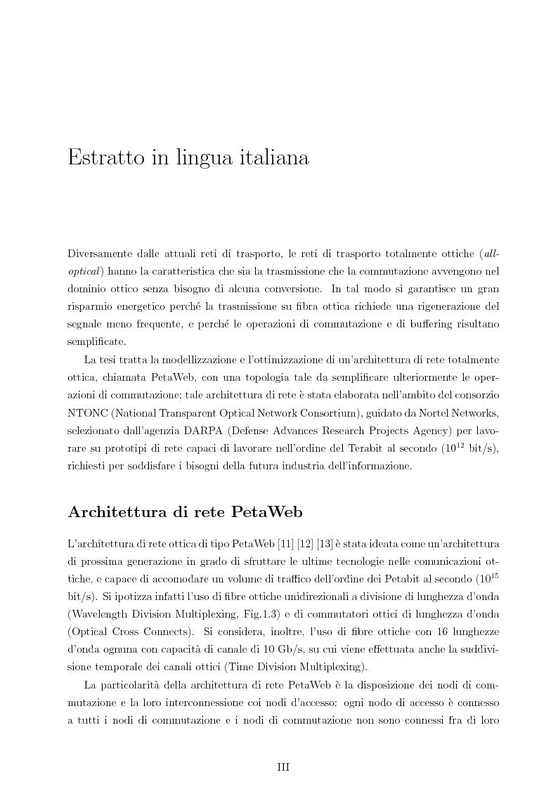 Anteprima della tesi: Design and Optimisation of a Novel Composite-Star TDM/WDM Network Architecture: the Petaweb, Pagina 1
