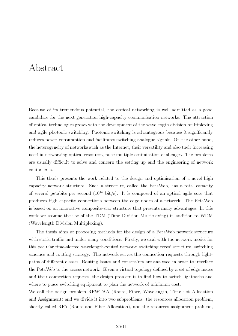 Anteprima della tesi: Design and Optimisation of a Novel Composite-Star TDM/WDM Network Architecture: the Petaweb, Pagina 14