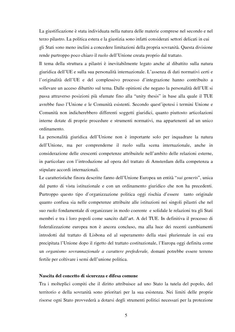 Anteprima della tesi: La Politica Europea di Sicurezza e di Difesa. Dal fallimento della CED al trattato di Lisbona e prospettive di evoluzione., Pagina 5