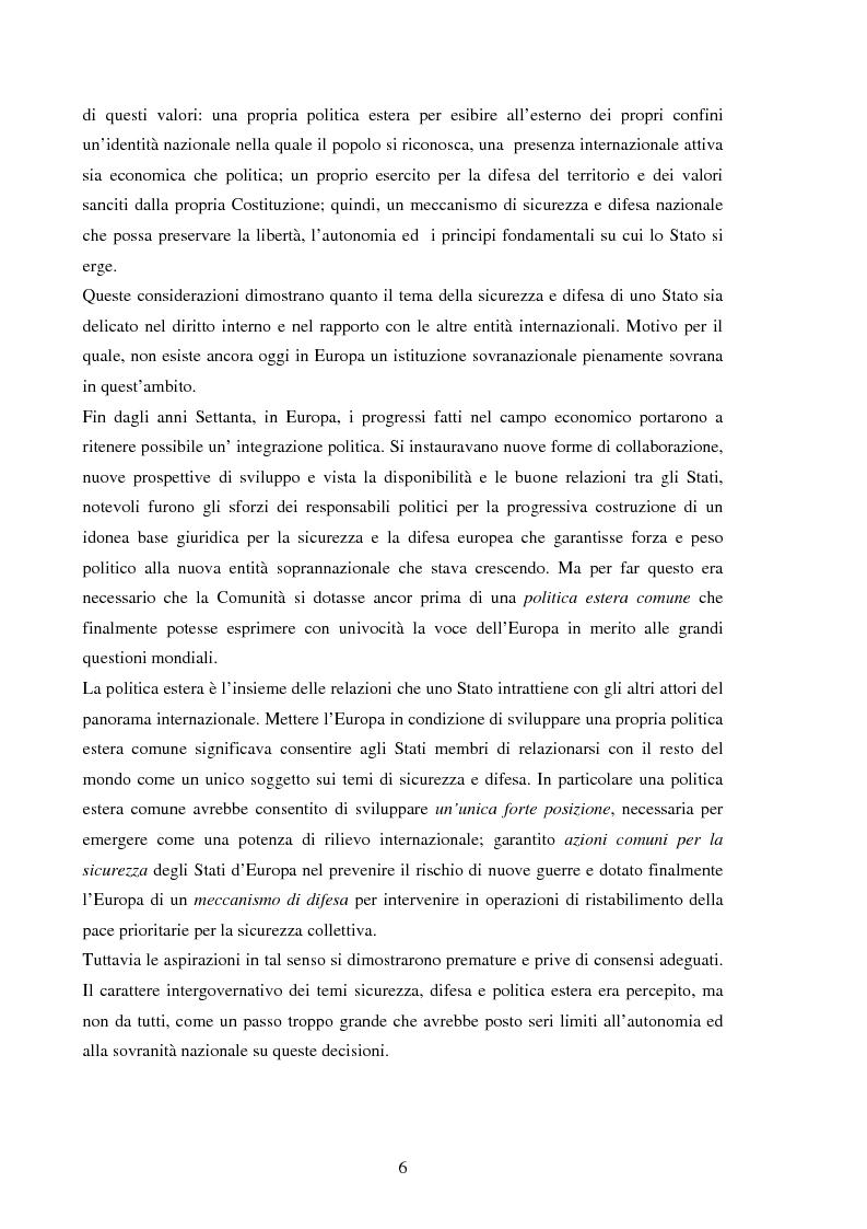 Anteprima della tesi: La Politica Europea di Sicurezza e di Difesa. Dal fallimento della CED al trattato di Lisbona e prospettive di evoluzione., Pagina 6
