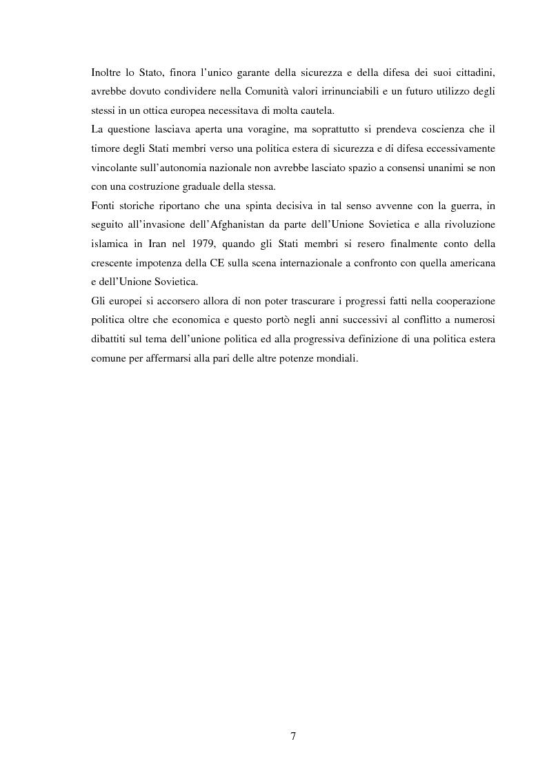 Anteprima della tesi: La Politica Europea di Sicurezza e di Difesa. Dal fallimento della CED al trattato di Lisbona e prospettive di evoluzione., Pagina 7