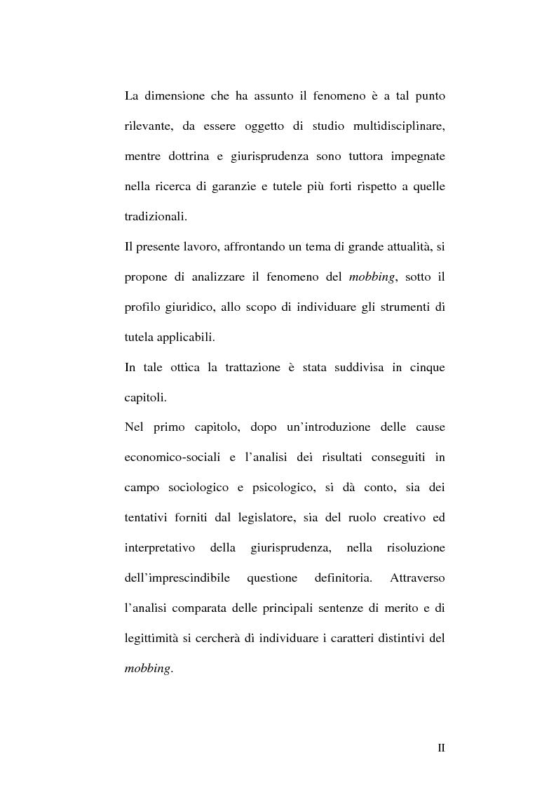 Anteprima della tesi: Il mobbing nel rapporto di lavoro, Pagina 2