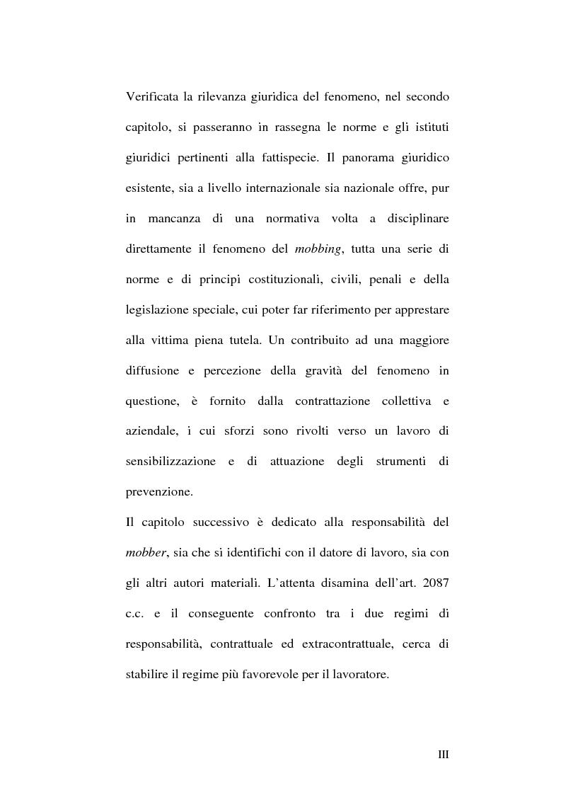 Anteprima della tesi: Il mobbing nel rapporto di lavoro, Pagina 3