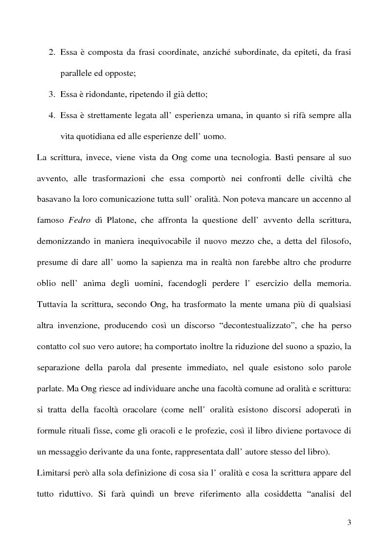 Anteprima della tesi: Scrivere il parlato. Come la scrittura parla dell'oralità attraverso la metafora., Pagina 2