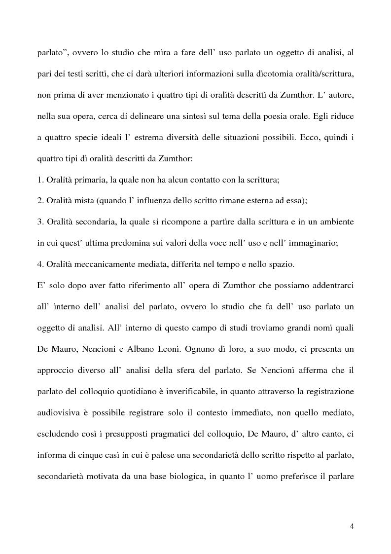 Anteprima della tesi: Scrivere il parlato. Come la scrittura parla dell'oralità attraverso la metafora., Pagina 3