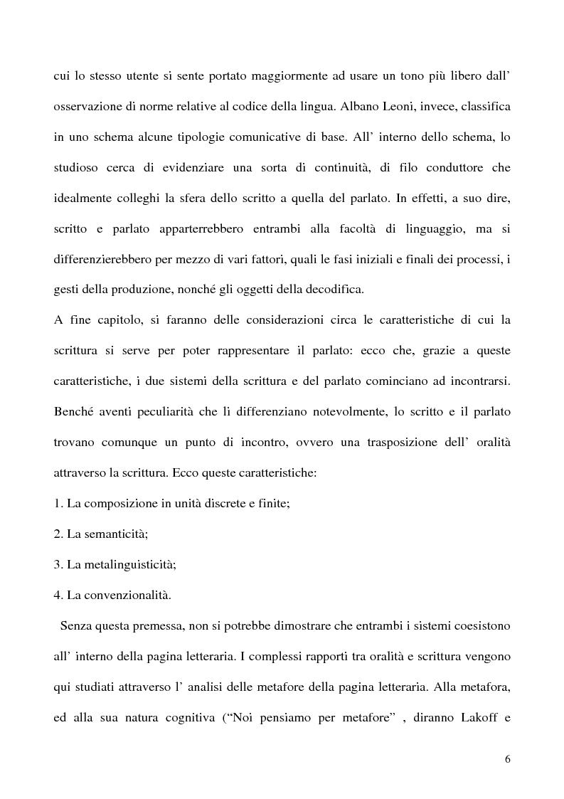 Anteprima della tesi: Scrivere il parlato. Come la scrittura parla dell'oralità attraverso la metafora., Pagina 5