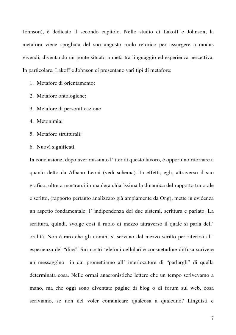 Anteprima della tesi: Scrivere il parlato. Come la scrittura parla dell'oralità attraverso la metafora., Pagina 6