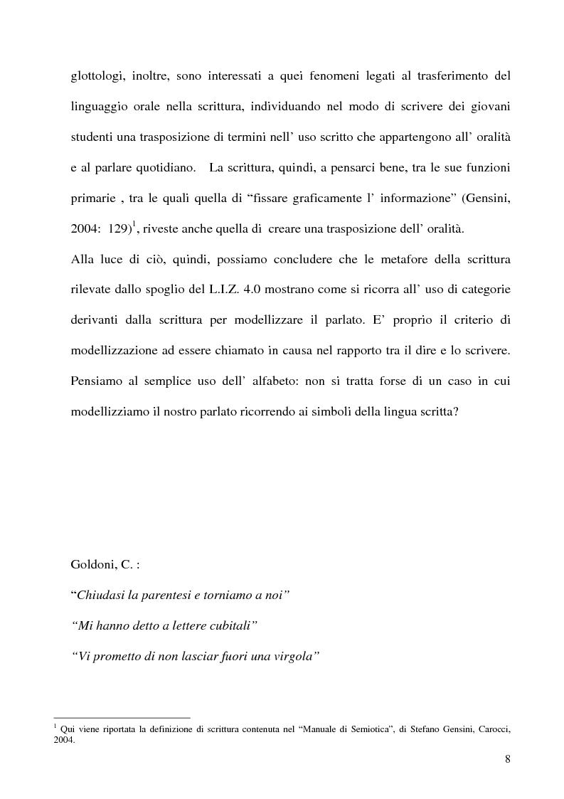 Anteprima della tesi: Scrivere il parlato. Come la scrittura parla dell'oralità attraverso la metafora., Pagina 7