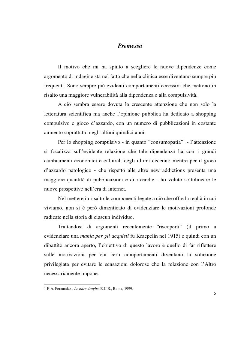 Anteprima della tesi: Shopping compulsivo e gioco d'azzardo - Dinamiche psicologiche di due nuove dipendenze, Pagina 1