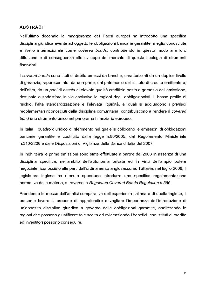 Anteprima della tesi: La disciplina delle obbligazioni bancarie garantite in Italia ed in Inghilterra: due esperienze giuridiche a confronto, Pagina 1