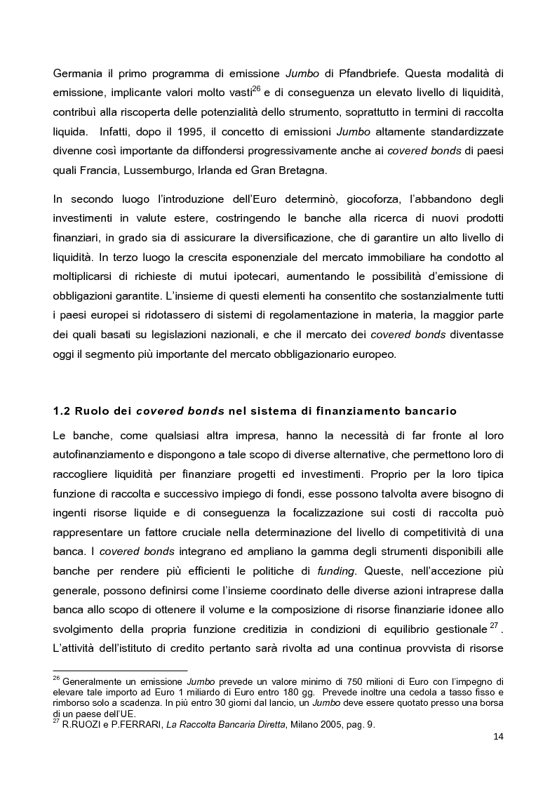 Anteprima della tesi: La disciplina delle obbligazioni bancarie garantite in Italia ed in Inghilterra: due esperienze giuridiche a confronto, Pagina 9