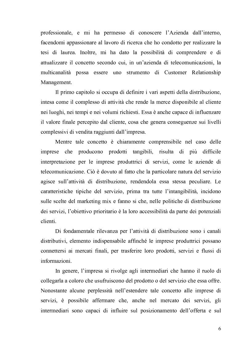 Anteprima della tesi: La multicanalità in un'azienda di telecomunicazioni come strumento di CRM, Pagina 2
