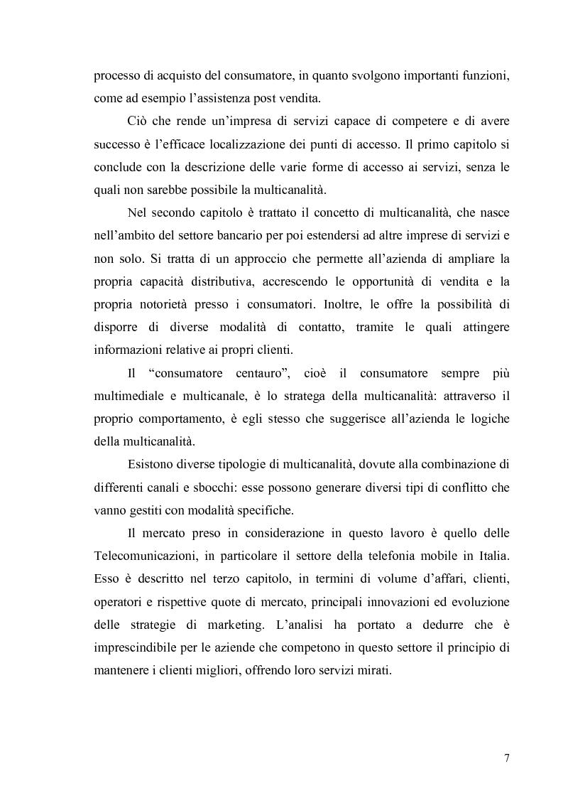 Anteprima della tesi: La multicanalità in un'azienda di telecomunicazioni come strumento di CRM, Pagina 3