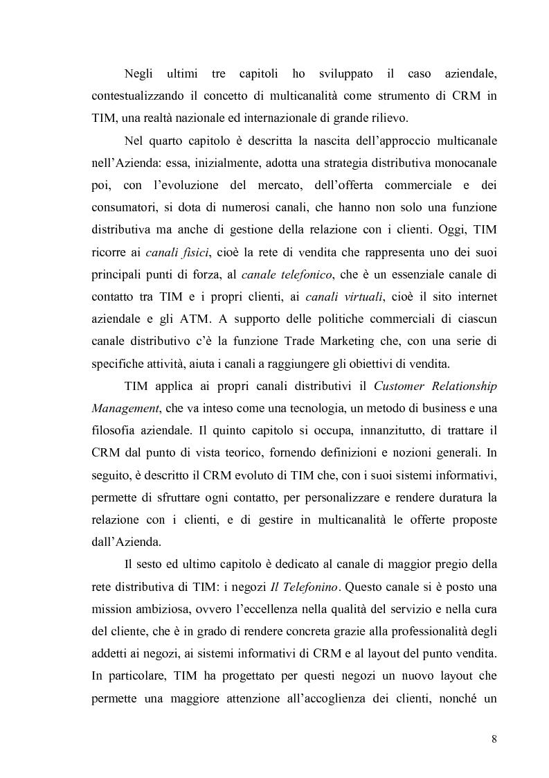 Anteprima della tesi: La multicanalità in un'azienda di telecomunicazioni come strumento di CRM, Pagina 4