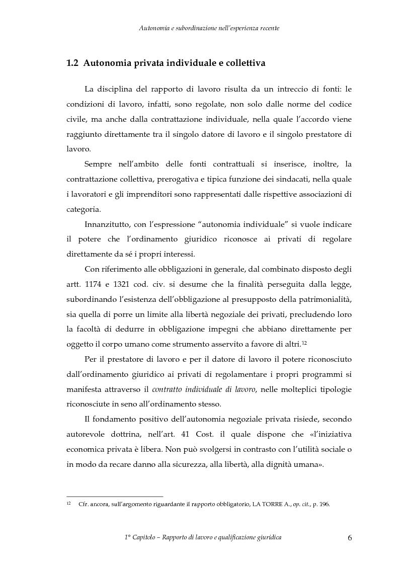 Anteprima della tesi: Autonomia e subordinazione nell'esperienza recente, Pagina 10