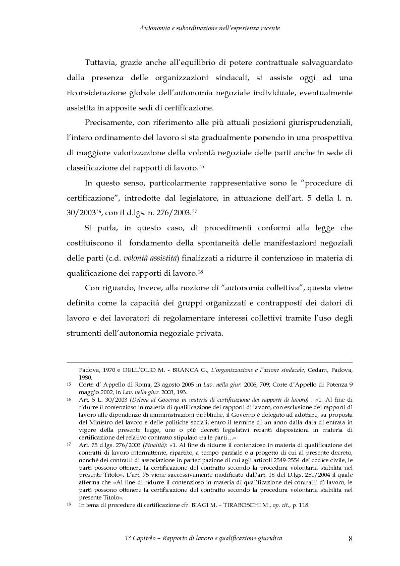 Anteprima della tesi: Autonomia e subordinazione nell'esperienza recente, Pagina 12