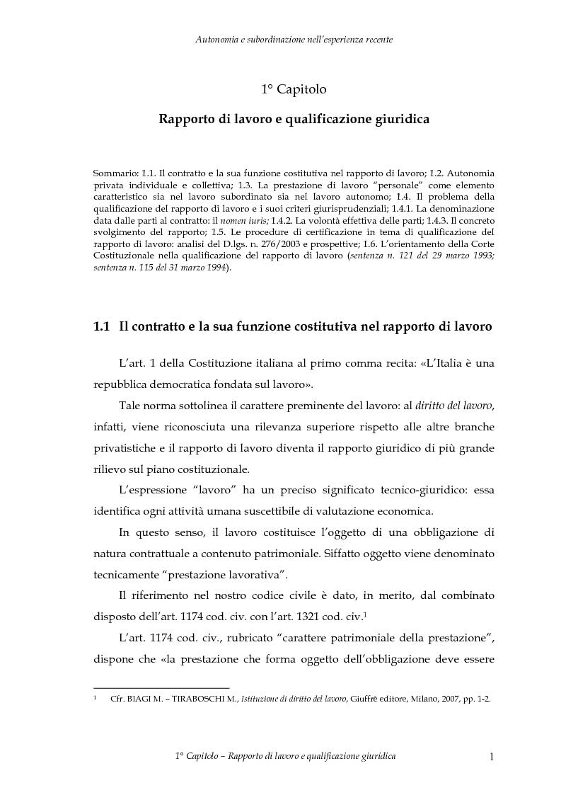Anteprima della tesi: Autonomia e subordinazione nell'esperienza recente, Pagina 5