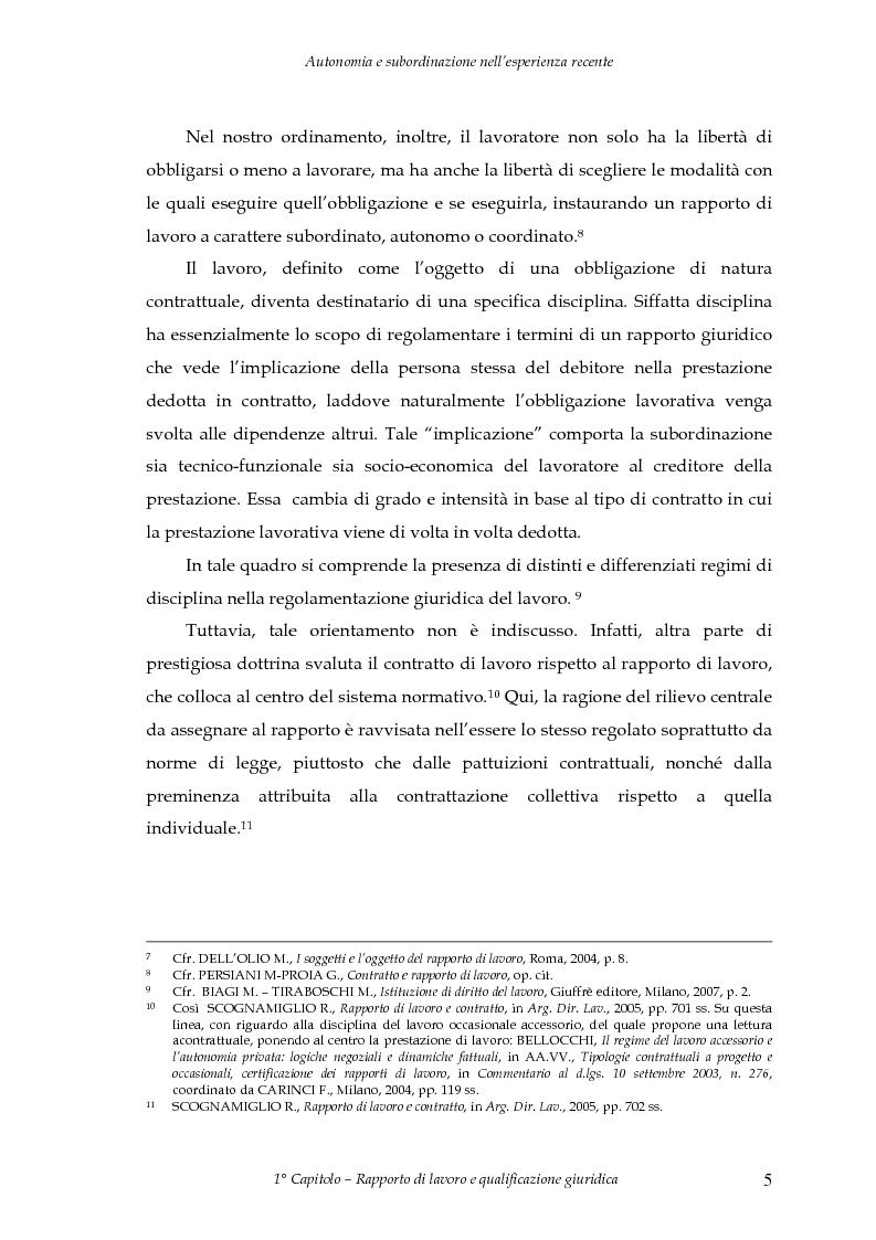 Anteprima della tesi: Autonomia e subordinazione nell'esperienza recente, Pagina 9