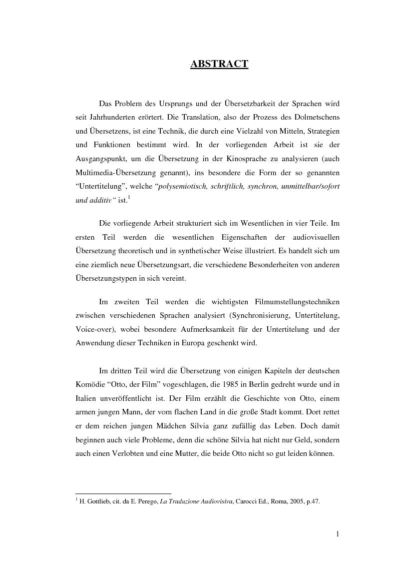"""Anteprima della tesi: """"Otto der Film"""", strategie traduttive ai fini della sottotitolazione di un testo audiovisivo, Pagina 1"""