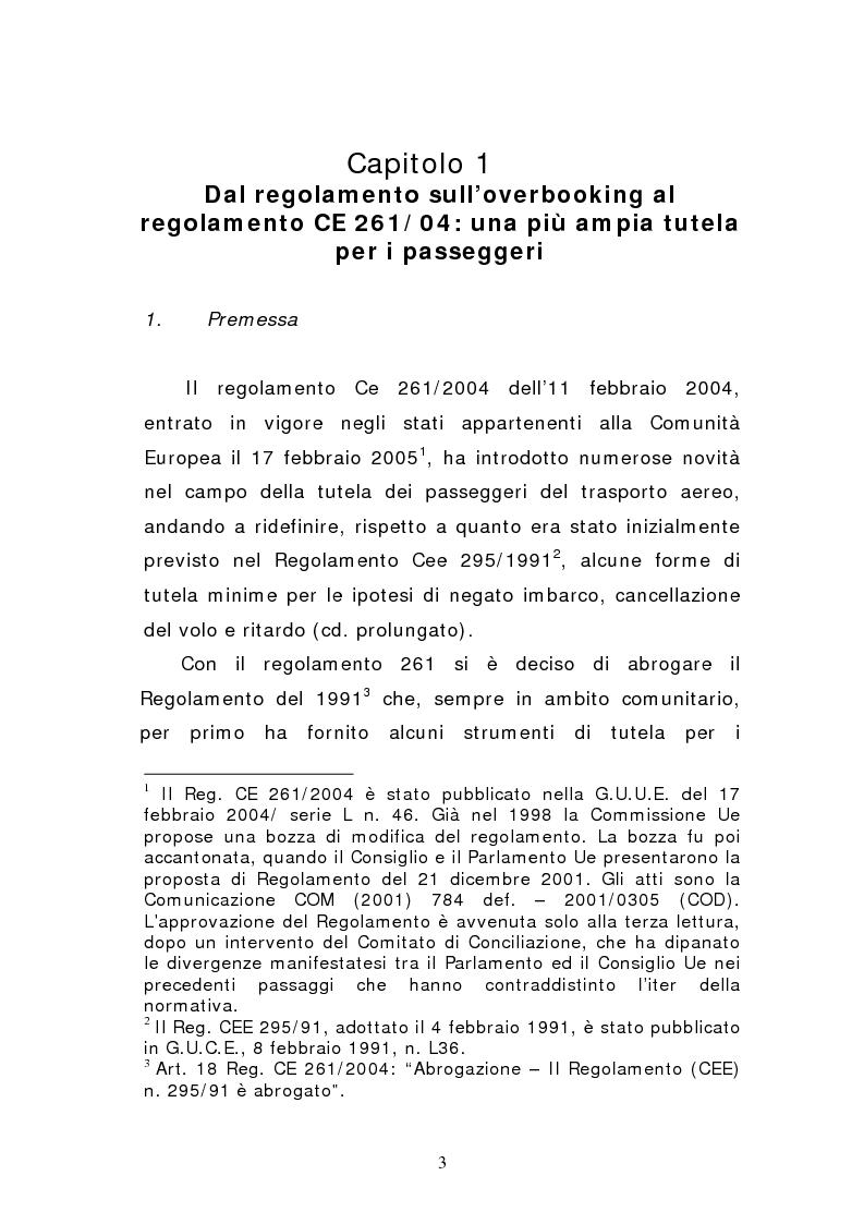Anteprima della tesi: Negato imbarco, cancellazione del volo e ritardo nel trasporto aereo di persone, Pagina 1