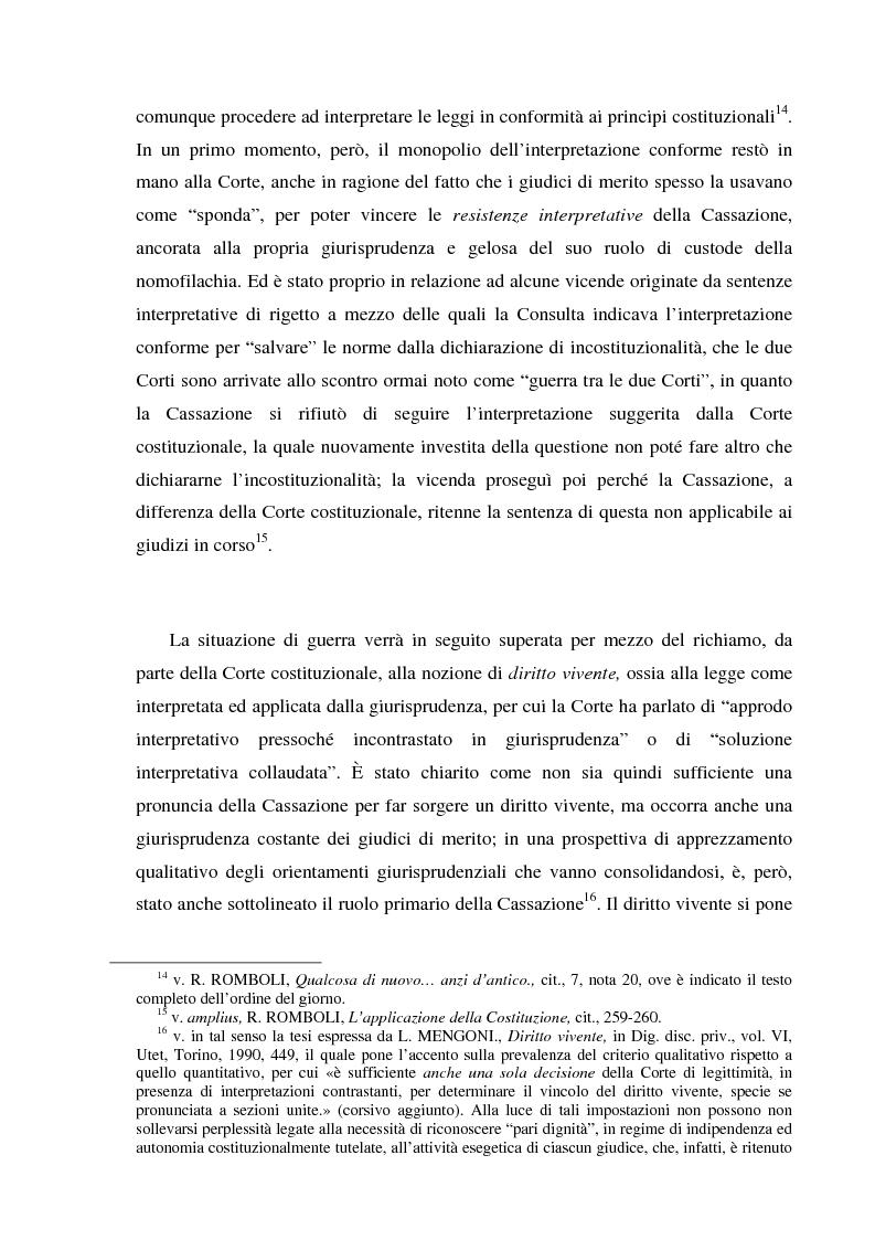 Anteprima della tesi: Recenti momenti di conflitto tra Corte Costituzionale e Corte di Cassazione, Pagina 6