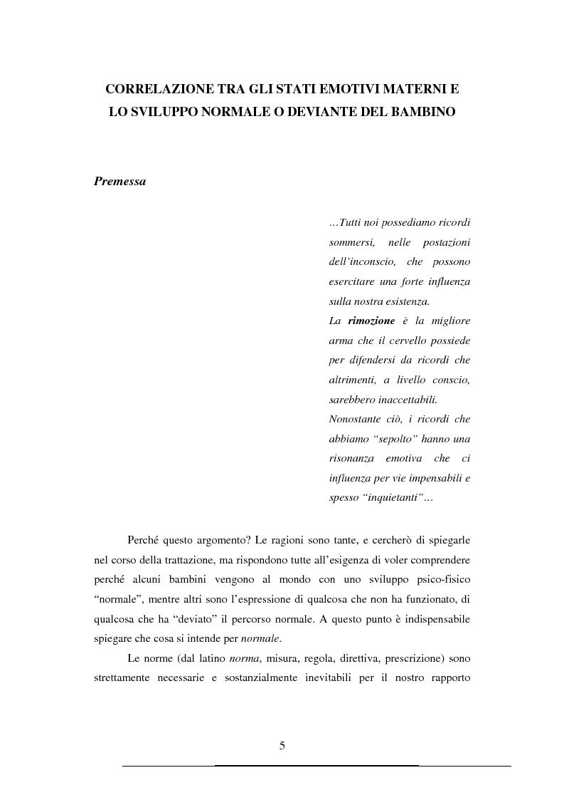 Anteprima della tesi: Correlazione tra gli stati emotivi materni e lo sviluppo normale o deviante del bambino, Pagina 1