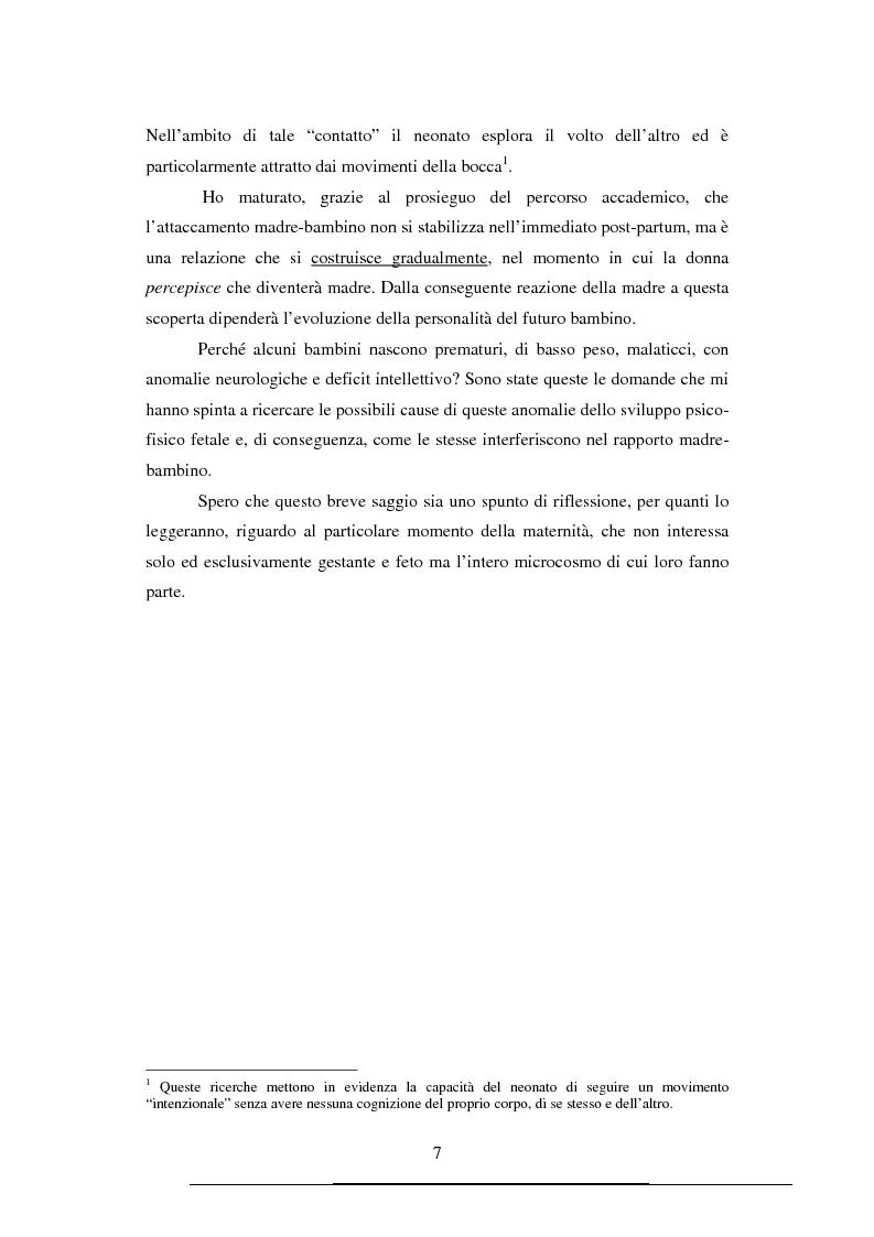 Anteprima della tesi: Correlazione tra gli stati emotivi materni e lo sviluppo normale o deviante del bambino, Pagina 3