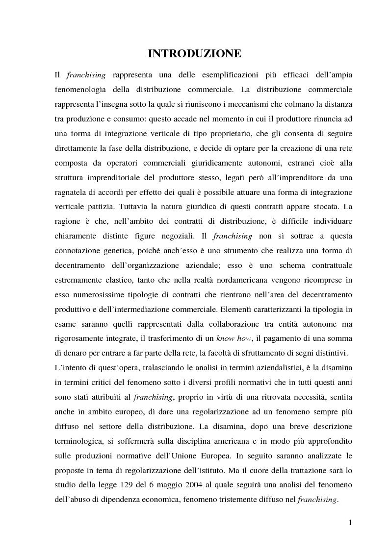 Anteprima della tesi: Norme per la disciplina dell'affiliazione commerciale (franchising): gli estremi della legge 129 del 6 maggio 2004, Pagina 1