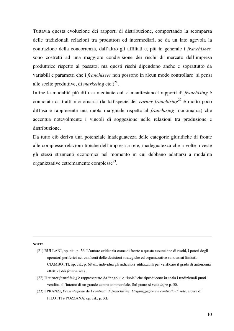 Anteprima della tesi: Norme per la disciplina dell'affiliazione commerciale (franchising): gli estremi della legge 129 del 6 maggio 2004, Pagina 10