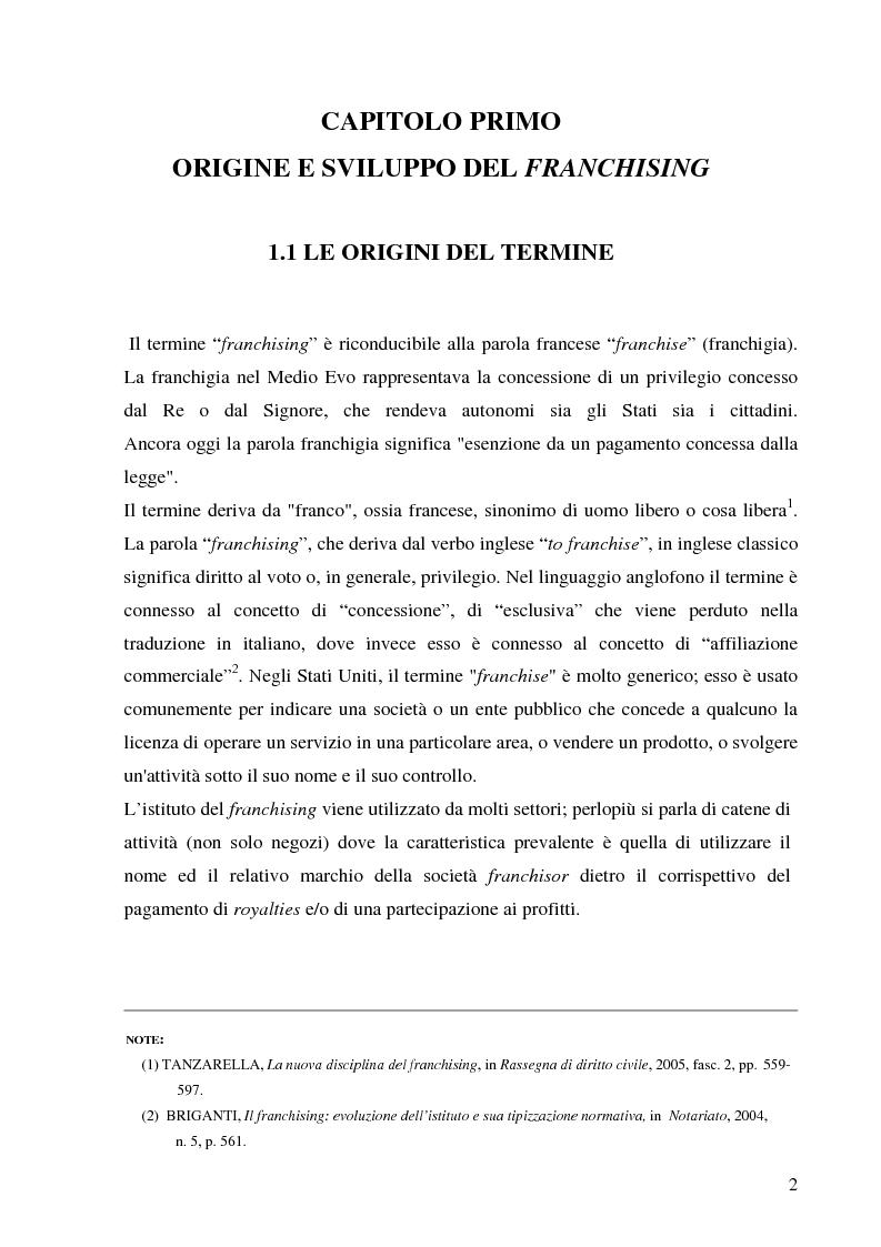 Anteprima della tesi: Norme per la disciplina dell'affiliazione commerciale (franchising): gli estremi della legge 129 del 6 maggio 2004, Pagina 2