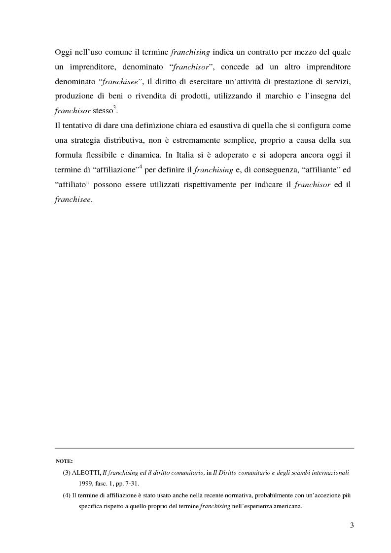 Anteprima della tesi: Norme per la disciplina dell'affiliazione commerciale (franchising): gli estremi della legge 129 del 6 maggio 2004, Pagina 3
