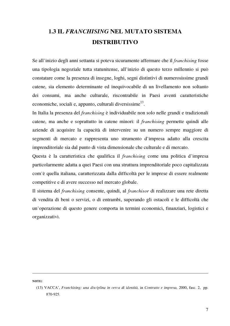 Anteprima della tesi: Norme per la disciplina dell'affiliazione commerciale (franchising): gli estremi della legge 129 del 6 maggio 2004, Pagina 7