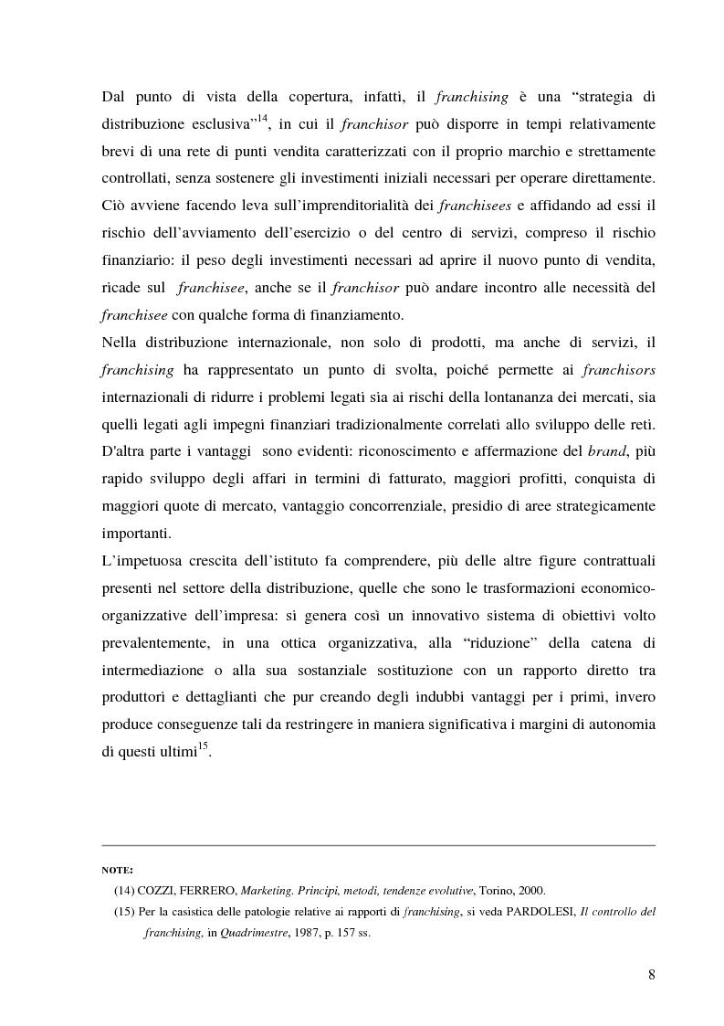 Anteprima della tesi: Norme per la disciplina dell'affiliazione commerciale (franchising): gli estremi della legge 129 del 6 maggio 2004, Pagina 8