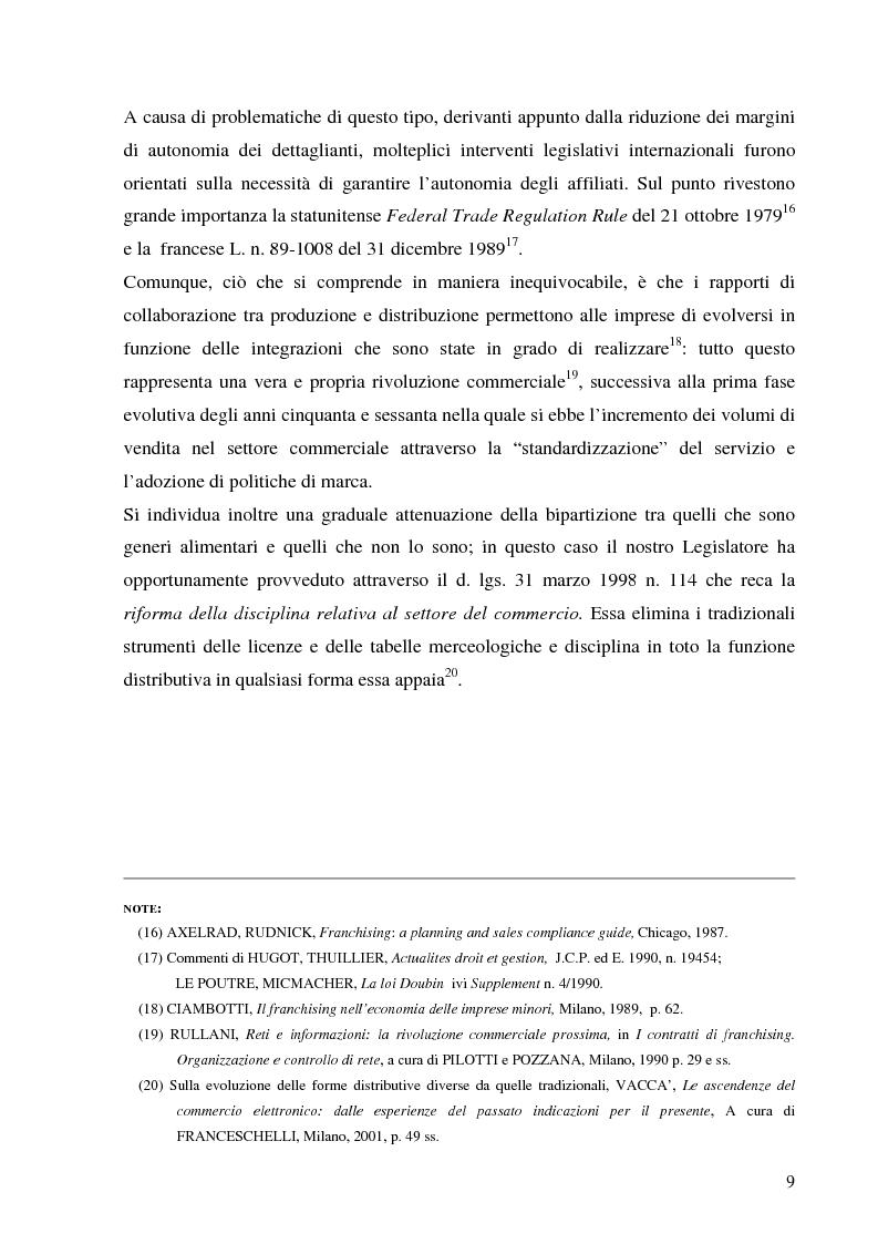 Anteprima della tesi: Norme per la disciplina dell'affiliazione commerciale (franchising): gli estremi della legge 129 del 6 maggio 2004, Pagina 9
