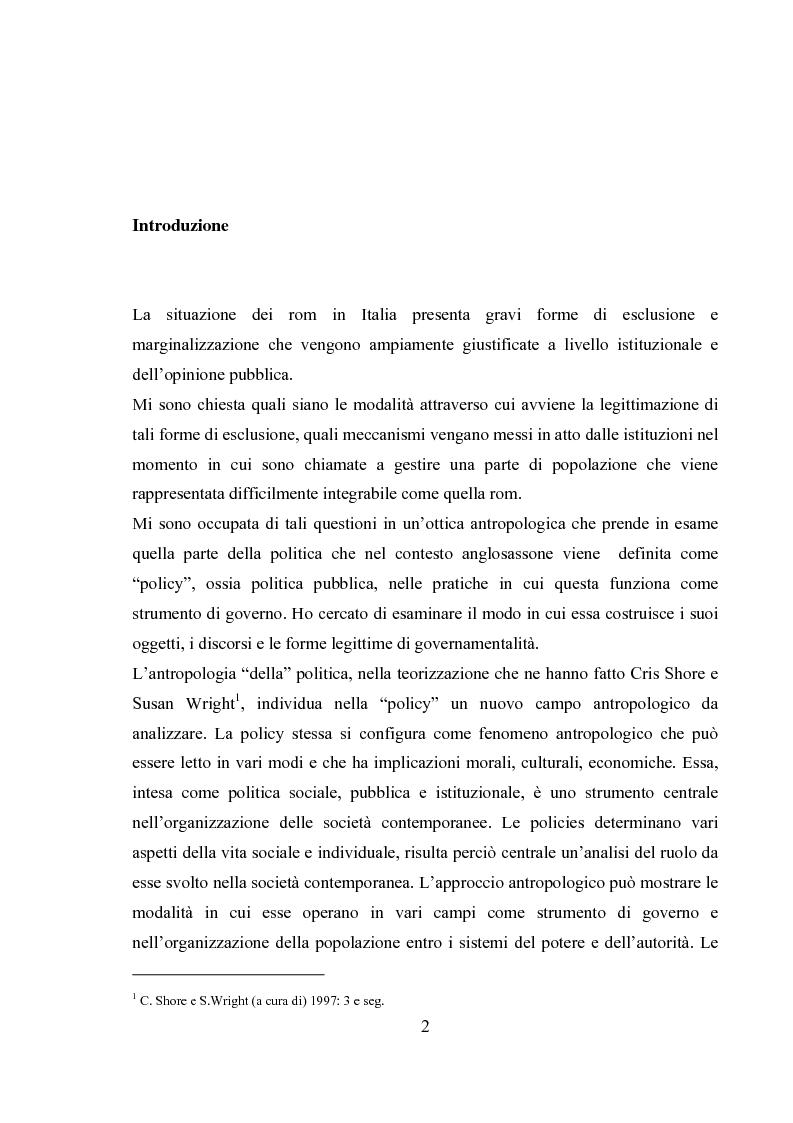 Anteprima della tesi: Emergenza, cittadinanza, esclusione. Un'analisi antropologica della gestione politica dei campi nomadi., Pagina 1