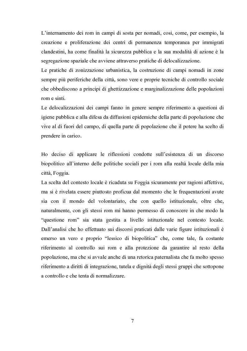 Anteprima della tesi: Emergenza, cittadinanza, esclusione. Un'analisi antropologica della gestione politica dei campi nomadi., Pagina 6