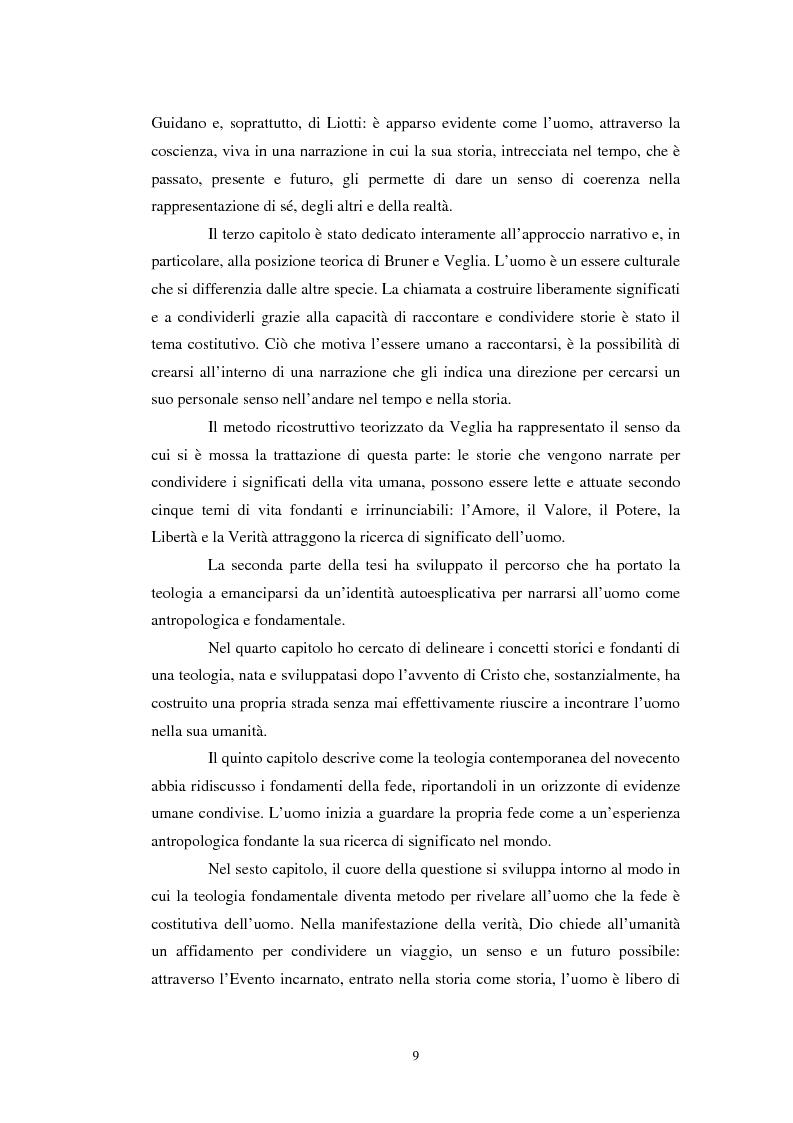 Anteprima della tesi: Un confronto tra l'approccio narrativo in psicologia e nella Teologia Fondamentale, Pagina 2