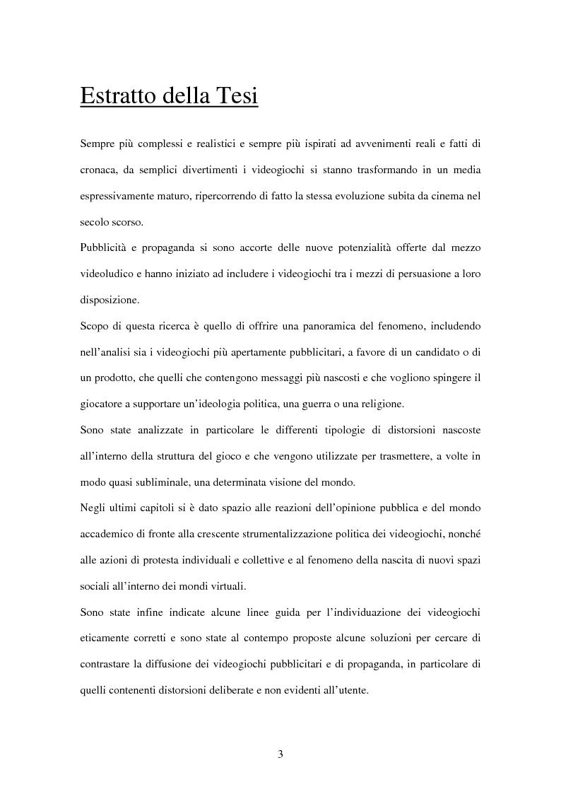 Anteprima della tesi: L'uso del videogioco come strumento di propaganda, Pagina 1