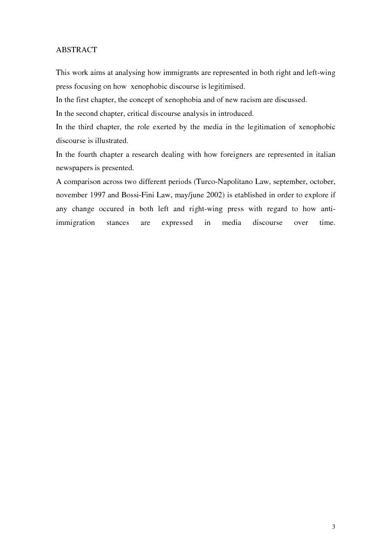 Anteprima della tesi: La rappresentazione dello straniero nella stampa quotidiana, Pagina 1