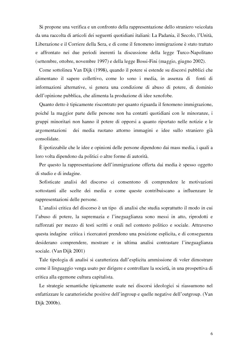 Anteprima della tesi: La rappresentazione dello straniero nella stampa quotidiana, Pagina 4