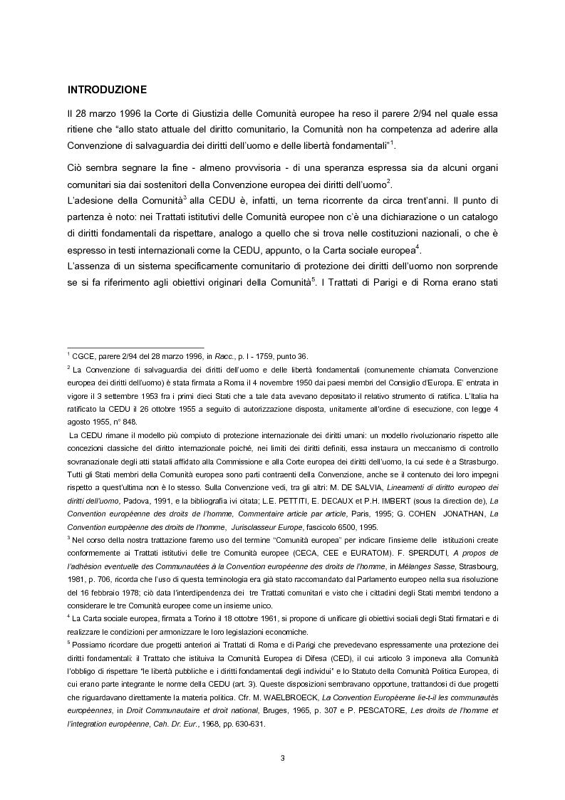 Anteprima della tesi: L'adesione della Comunità europea alla Convenzione europea dei diritti dell'uomo, Pagina 1