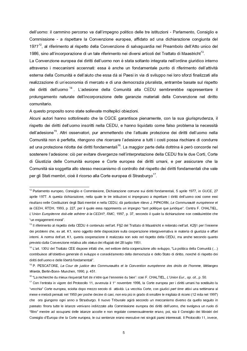 Anteprima della tesi: L'adesione della Comunità europea alla Convenzione europea dei diritti dell'uomo, Pagina 3