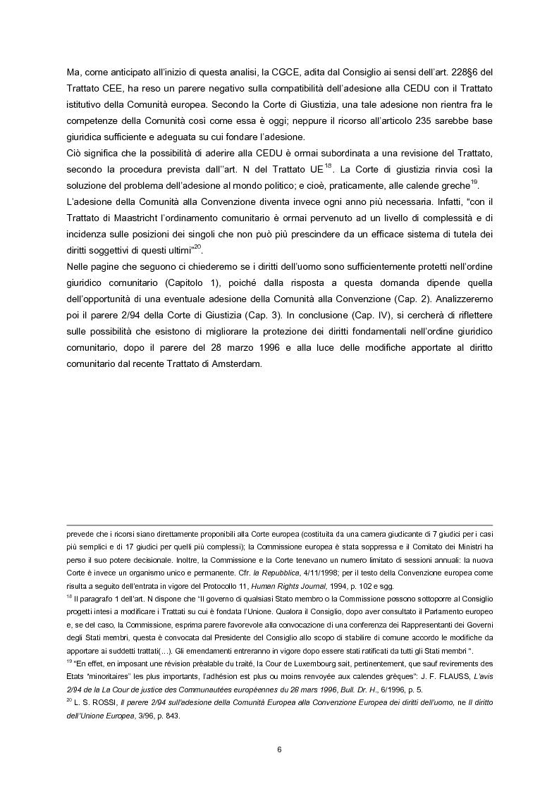 Anteprima della tesi: L'adesione della Comunità europea alla Convenzione europea dei diritti dell'uomo, Pagina 4