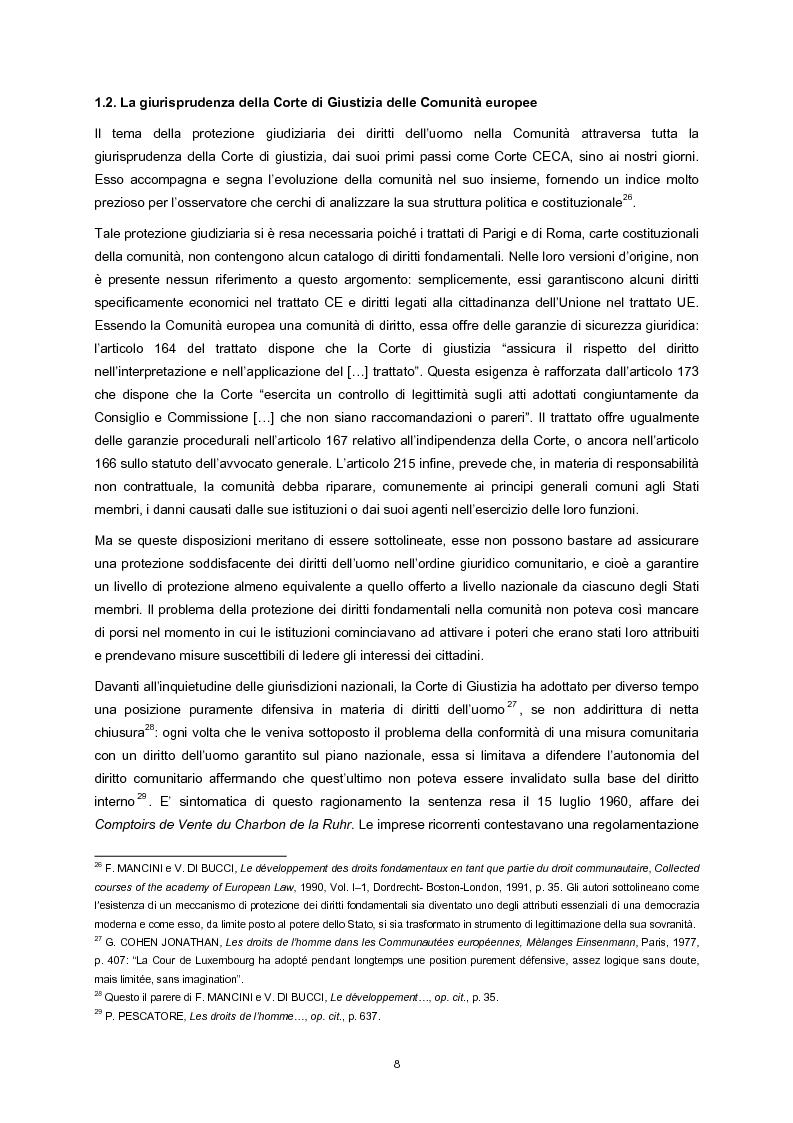 Anteprima della tesi: L'adesione della Comunità europea alla Convenzione europea dei diritti dell'uomo, Pagina 6