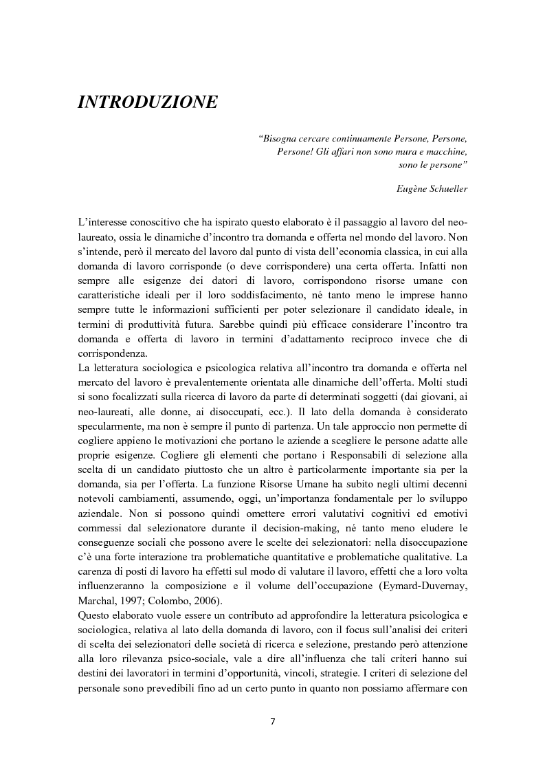 Anteprima della tesi: Criteri di scelta nel processo di selezione del personale: un'analisi empirica, Pagina 1