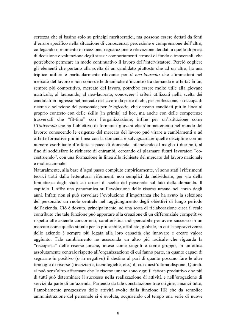 Anteprima della tesi: Criteri di scelta nel processo di selezione del personale: un'analisi empirica, Pagina 2
