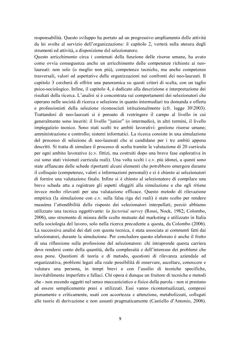 Anteprima della tesi: Criteri di scelta nel processo di selezione del personale: un'analisi empirica, Pagina 3
